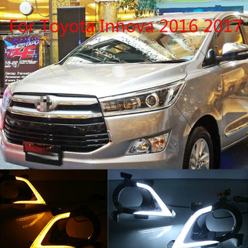 For Toyota Innova 2016 2017,Turning Yellow Signal Style Relay Waterproof ABS Car DRL LED Daytime Running Light Daylight