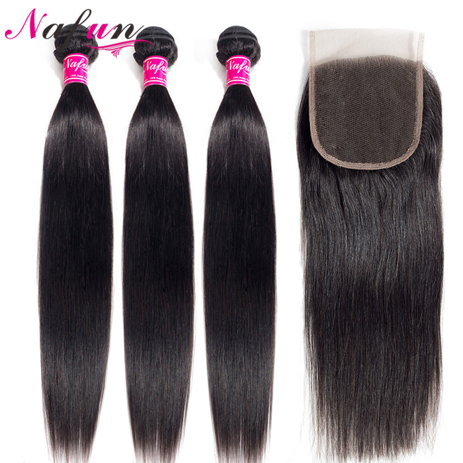 NAFUN Straight Hair Bundles With Closure Human Hair Bundles Peruvian Hair Wave Bundles With Closure Non-Remy Hair Extension