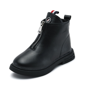 Image 2 - 2019 outono moda meninas botas de couro coreano tornozelo botas escola meninas grandes preto branco inverno botas para crianças tamanho 27 37