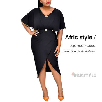 Elegant African Wax Print Dresses For Women Bazin Riche Sexy Patchwork Waistband Dresses Dashiki African Style Clothing WY5563