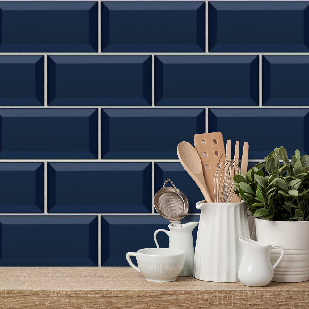 Navy Blue Terrazzo Wall Stickers Retro Oil-proof Waterproof Tile Sticker For Kitchen Bathroom Ground Wall House Decoration