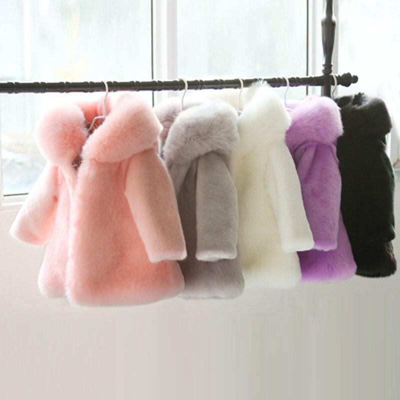 2 10y inverno criancas do falso peles capuz casacos jaqueta de manga longa quente natal aniversario