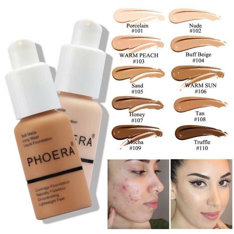 Phoera 30ml Face Foundation Base Makeup Matte Oil Control Concealer Full Coverage Liquid Foundation Cream Cosmetics Maquiagem 3