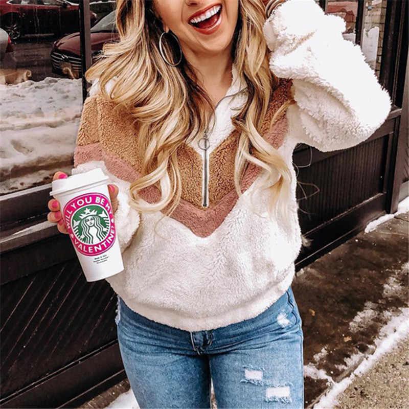 DORVIVON suéter mujer invierno 2019, cremallera, patchwork suéteres mujeres suéteres de invierno caliente de la felpa suave de mujer abrigo chaquetas