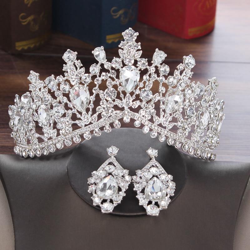 Elegant Luxurious Diamante Rhinestone Necklace Earring Crown Set  Wedding #8Y