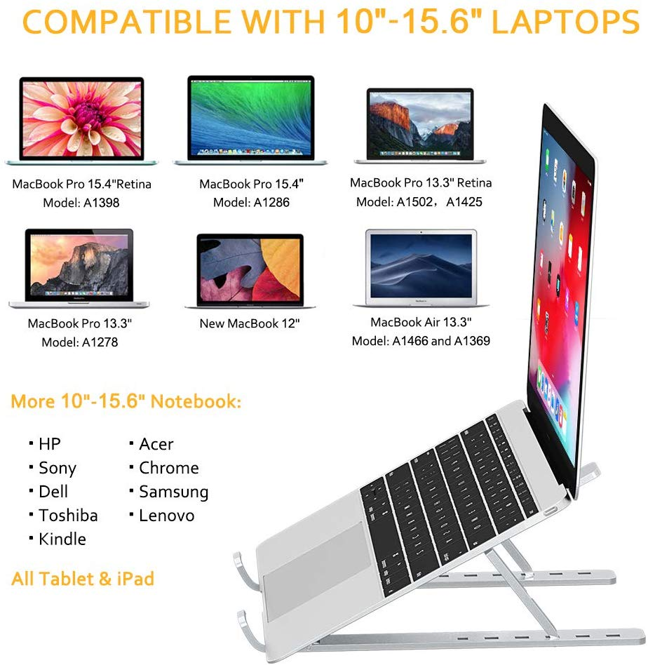 GOOJODOQ Laptop Stand for MacBook Pro Notebook Stand Foldable Aluminium Alloy Tablet Stand Bracket Laptop Holder for Notebook 4