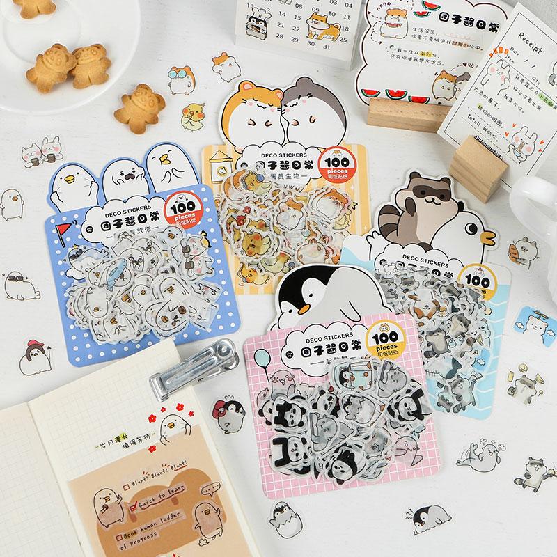 Journamm 100pcs Cute Kawaii Sticky Animals Deco Stickers Translucent Washi Paper Material Stationary