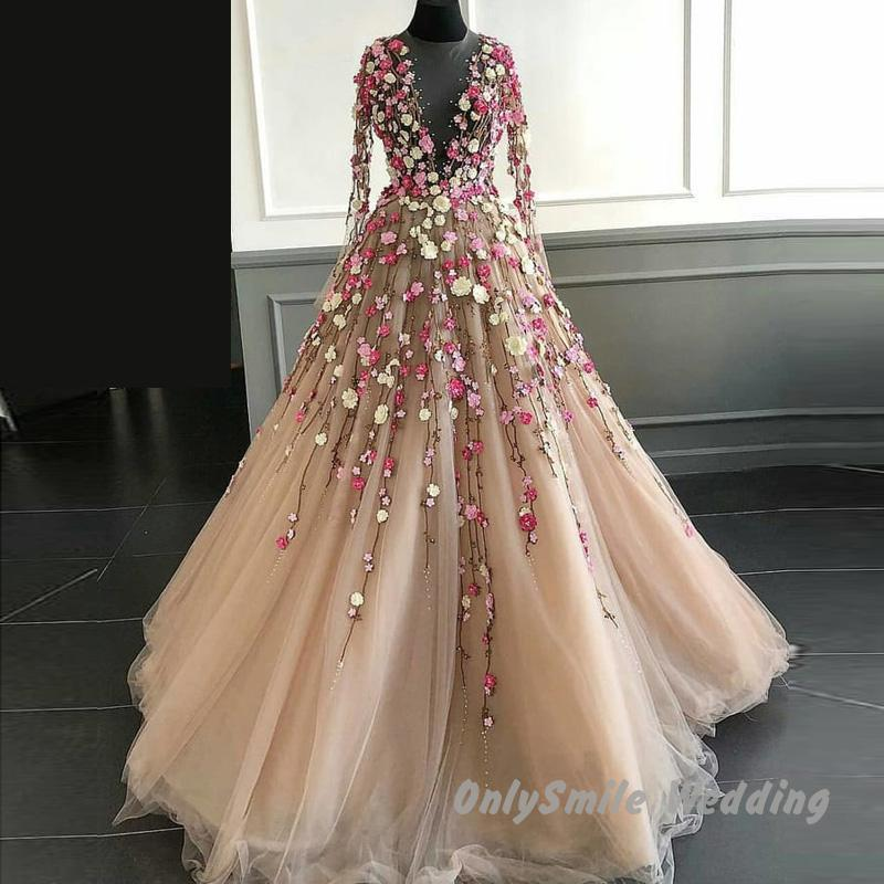 Fairy 3D Floral Flowers Prom Dresses Long Illusion Neckline Floor Length Champagne Tulle Long Sleeves Arabic Evening Dress Gowns