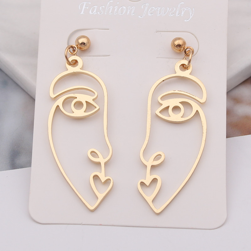 European & American Cross-border Personality Exaggerated Abstract Face Silhouette Earrings Hollow Face Earrings For Women