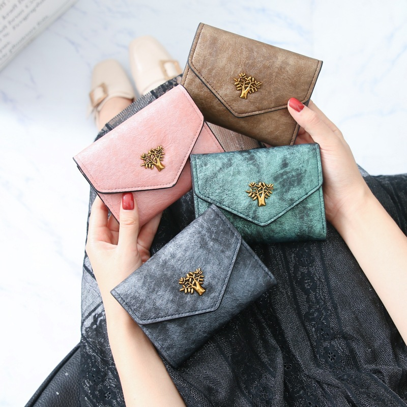 New Wallet Women's Short Style Retro Small Tree Versatile Student Wallet Women's Card Bag Zero Wallet Short Style Wallet
