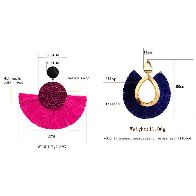 BICUX, богемные серьги-капли с большими кисточками и кристаллами для женщин 2019, модные массивные ювелирные изделия из хлопка ручной работы, тканевые серьги с бахромой