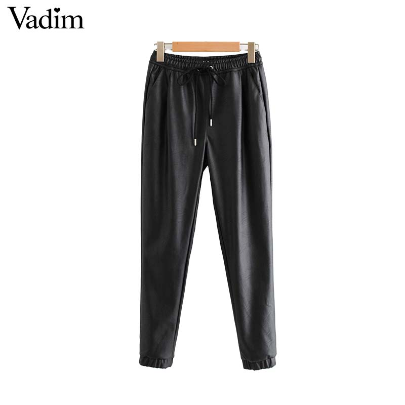 Vadim women chic PU leather pants solid elastic waist drawstring tie pockets female basic elegant trousers KB131 1