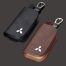 Coche bolsa Porta llaves cartera caso para Mitsubishi Mirage ASX Lancer X Ralliart Outlander 3 Montero Pajero 4 4g63 Carisma Accesorios