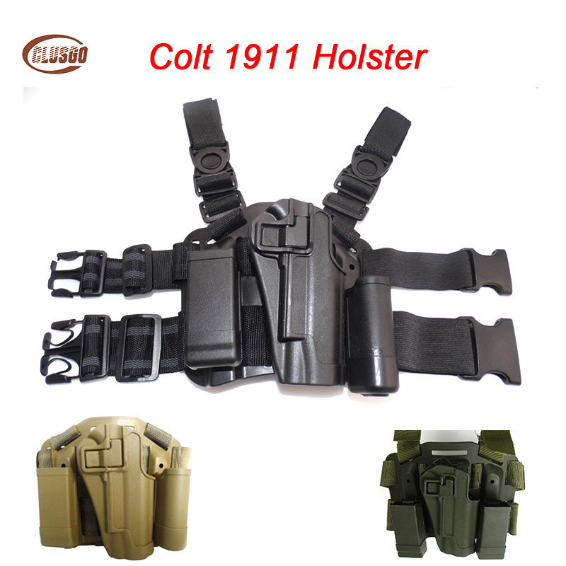 Airsoft Colt 1911 Gun Holster Right Hand Hunting Quick Drop Leg Holster for Colt 1911 Tactical Pistol Gun Case Magazine Pouch image
