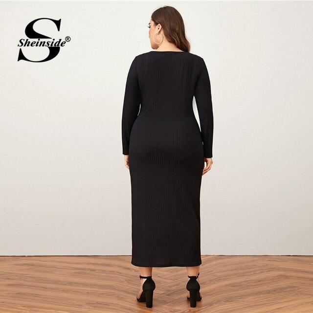 Sheinside Plus Size Deep V Neck Pencil Dress Women 2019 Autumn Lantern Sleeve Solid Midi Dresses Ladies Burgundy Belted Dress 1