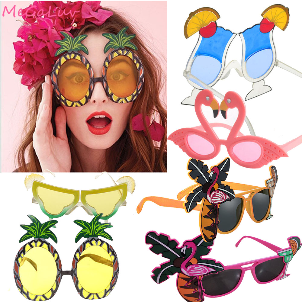6Pairs Funny Sun Glasses Pink Flamingo Pineapple Sunglasses Hawaiian Party Tropical Decorations Beach Hawaii Luau Party Supplies image
