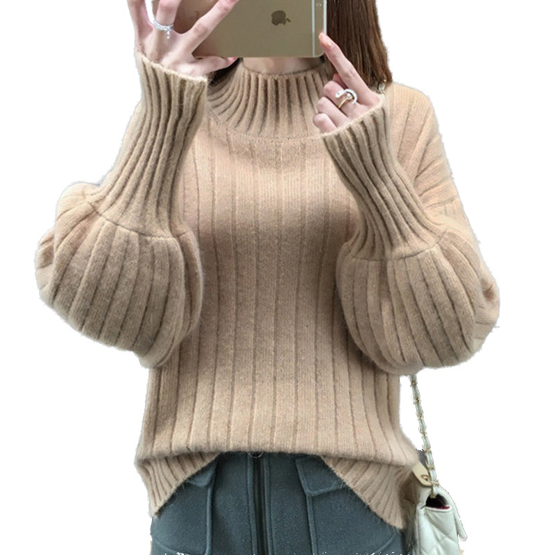 New Arrival In 2019 Women Winter Sweater 9-color Lantern Sleeve Children Sex High-collar Cashmere Jersey Women