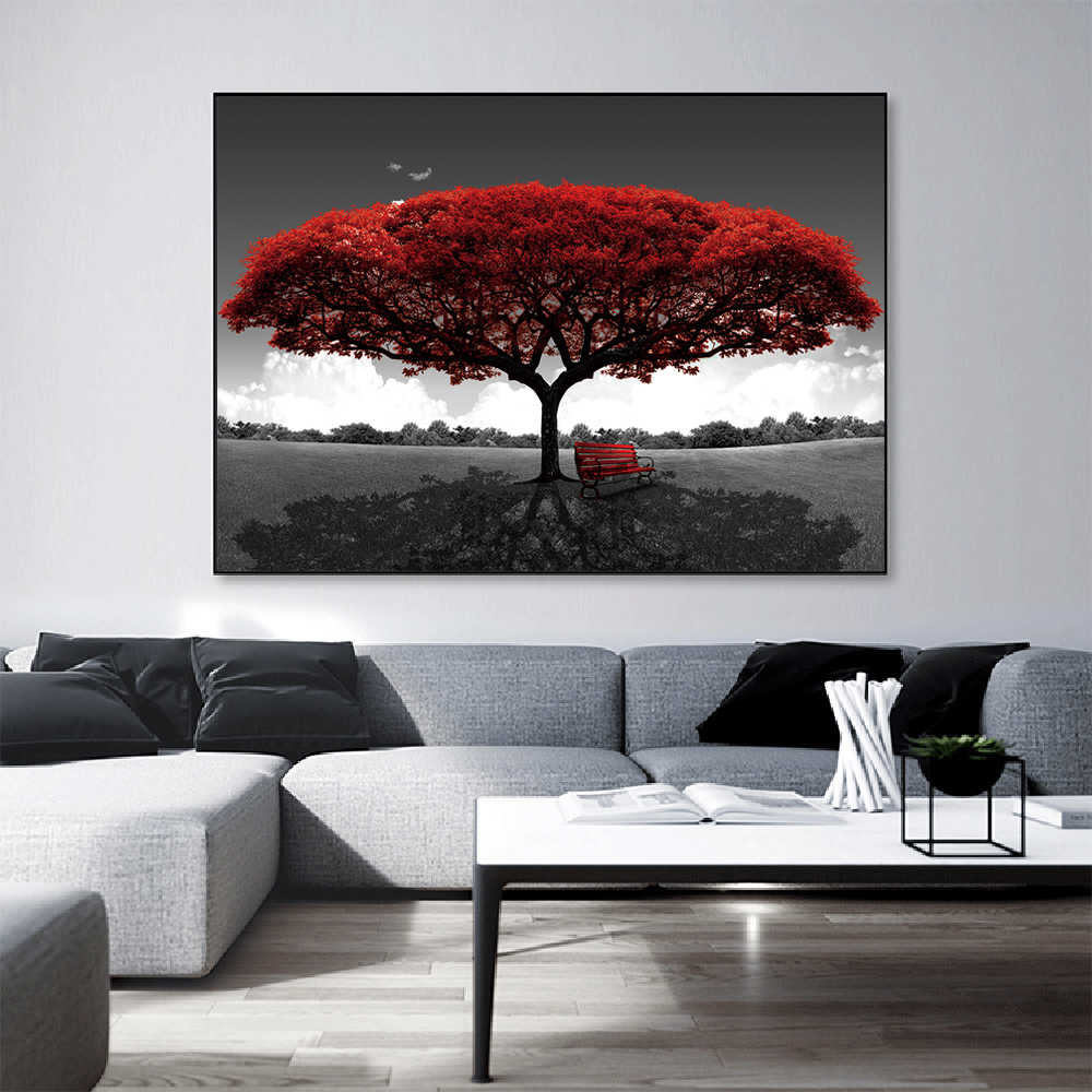 5 Panels Abstract Red Tree Oil Paintings Print On Canvas Posters Wall Art 2020