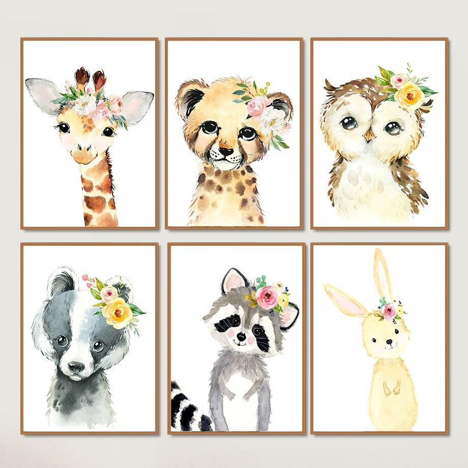 Cuadro nórdico bonito con estampado de flores, animales, jirafa, cebra, elefante, lienzo para pared, arte, impresión abstracta, póster, imagen para pared, decoración para habitación del hogar