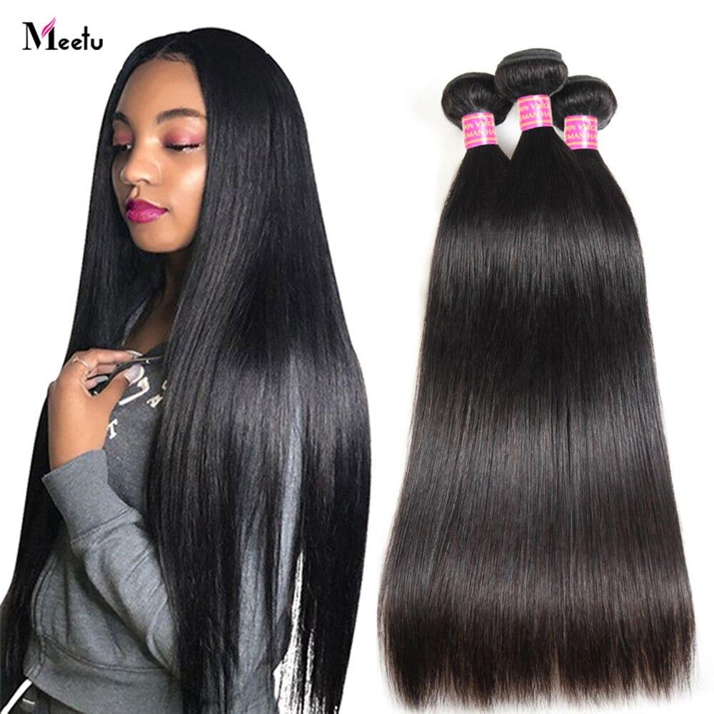 Meetu Малайзии кости прямые волосы пряди натуральных Цвет 100% человеческих волос 30 дюймов Non-Волосы Remy волос для наращивания 3 или 4 пряди