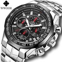 WWOOR Relojes hombres superior de la marca de lujo de negro deporte cronógrafo Reloj moda militar grande de cuarzo Reloj de pulsera totalmente de acero Reloj Hombre