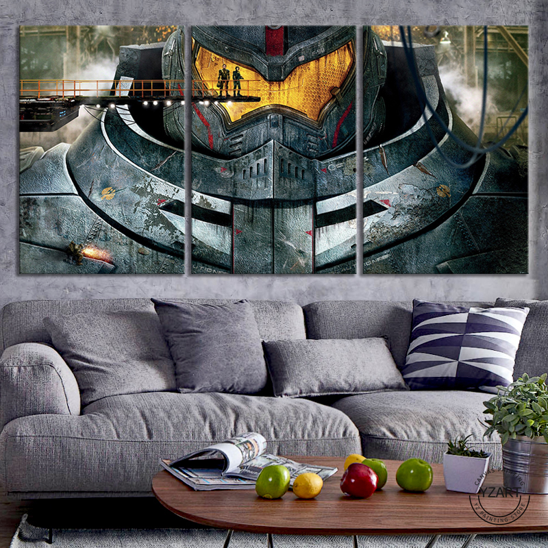 3pcs Gipsy Danger HD Movie Poster Pacific Rim Wall Sticker Canvas Paintings for Wall Decor image