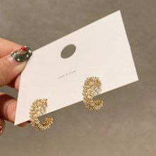 MENGJIQIAO – boucles d'oreilles en Zircon pour femmes, élégantes, faites à la main, brillantes, bijoux en forme de cercle, 2020
