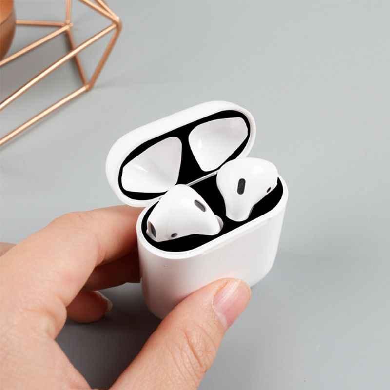 6 paires coloré protecteur boîtier à autocollants peau anti-poussière anti-poussière pour Apple Airpods écouteurs boîte de charge pas d'écouteurs.