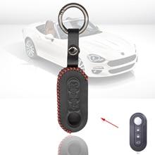 Remote Flip 3 Buttons Key Shell Case Car Key for Fiat 500 500L Panda Punto Bravo Ducato Stilo Key Leather Keyring Keychain