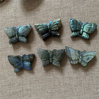 1pcs 40mm amazing natural labradorite moonstone hand carved Butterfly figurine reiki healing crystals energy stone