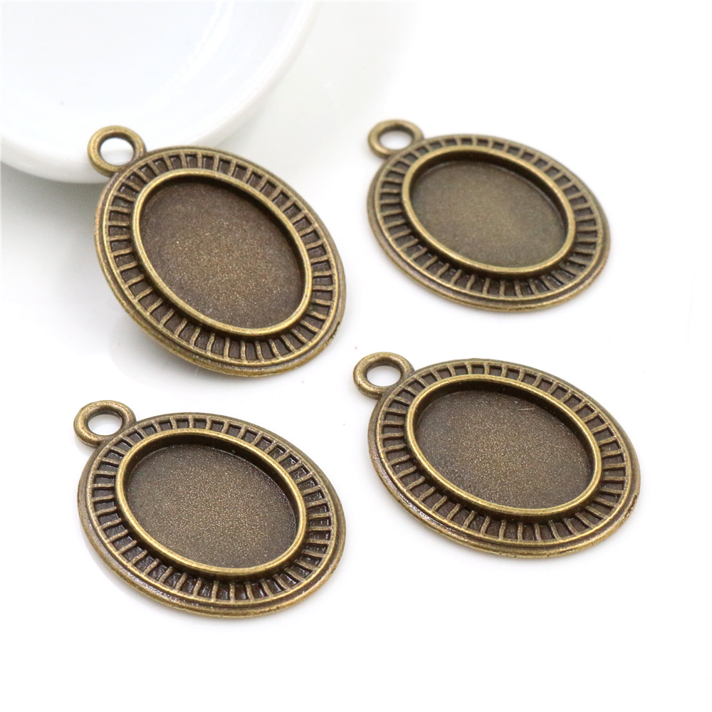 8pcs 13x18mm Inner Size Bronze Simple Style Cameo Cabochon Base Setting Charms Pendant Necklace Findings  (D4-16)