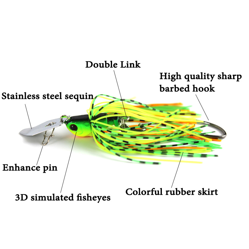 12G/15G spinner bait fishing lure Buzzbait chatter bait wobbler isca artificial rubber skirt Chatterbait for bass pike walleye-2