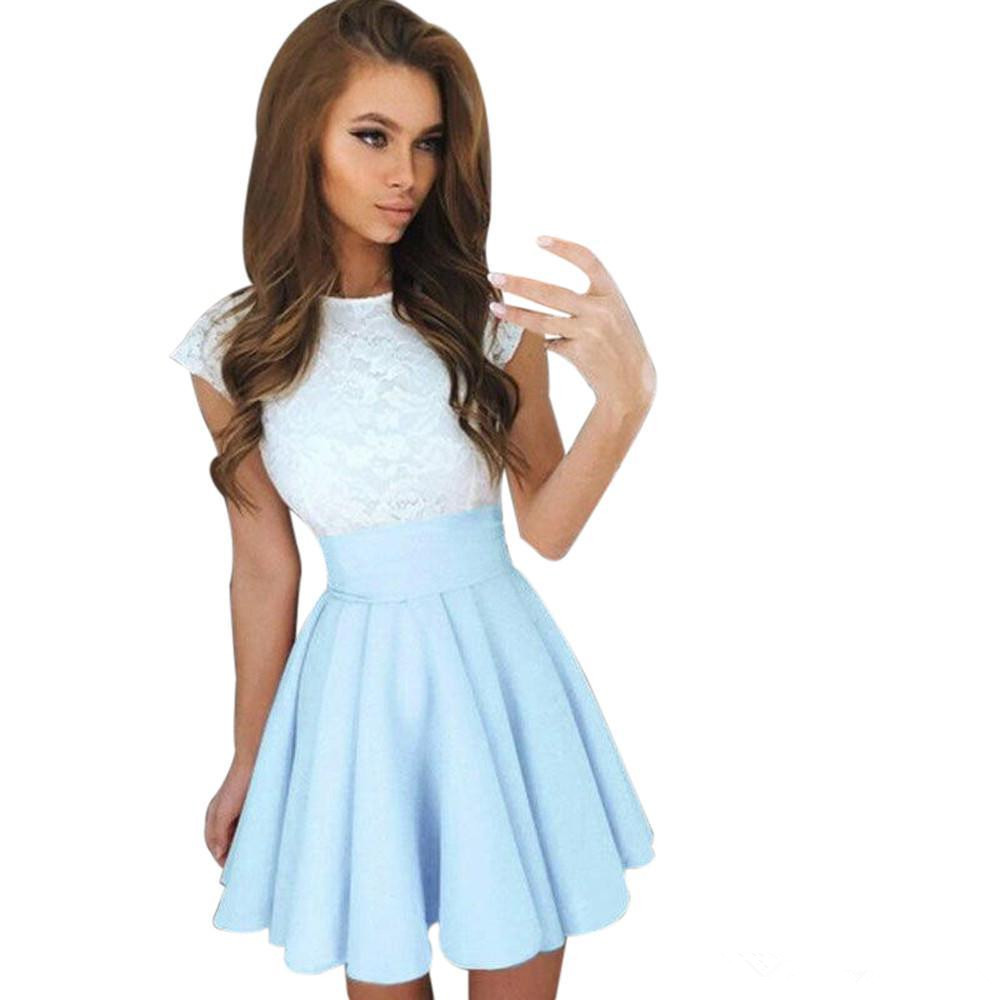 New Summer Fashion Women Dress 2020 Casual Lace Party Cocktail Mini Dress Ladies Summer Short Sleeve Skater Dresses Cute