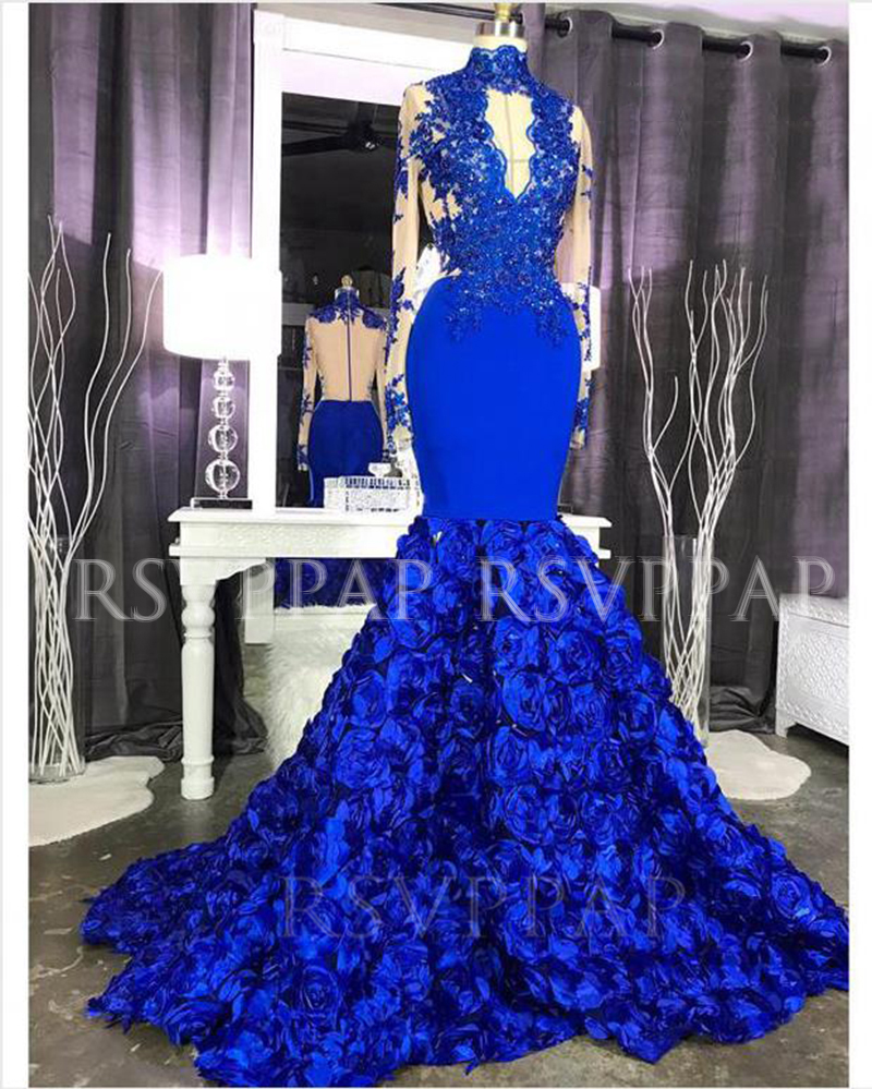 Royal Blue Mermaid Long Prom Dress 2020 Real Pictures Sexy See Through Top Beaded Appliques 3D Flowers Long Sleeve Prom Dresses