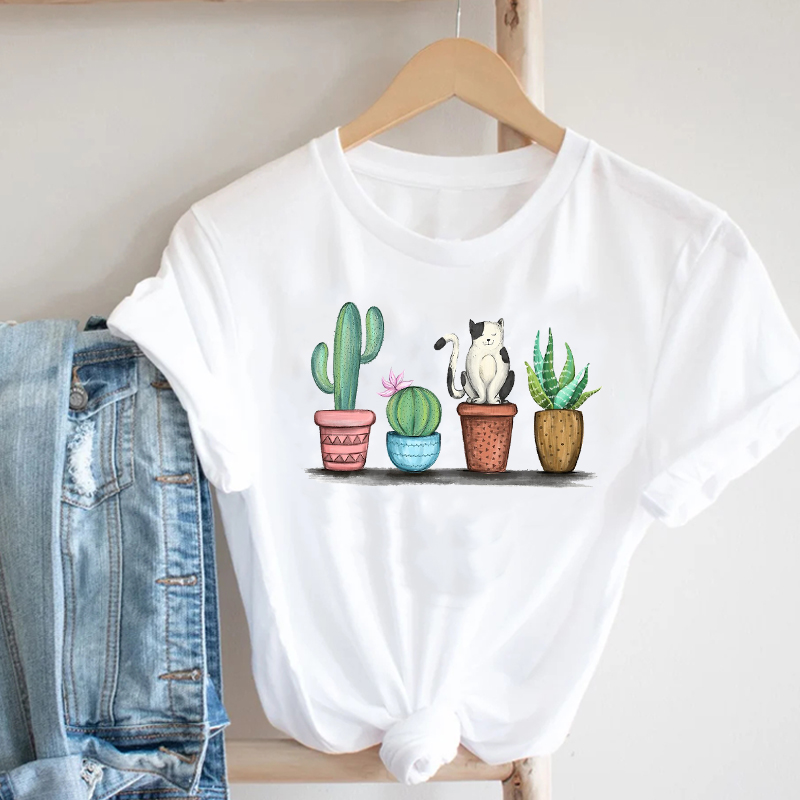 Women Printing Cactus Plant Trend Casual Summer Spring 90s Style Fashion Clothes Print Tee Top Tshirt Female Graphic T-shirt 2