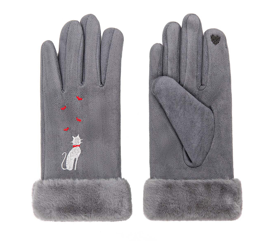 Winter Women Touch Screen Gloves with Embroidery made with a Special Conductive Fabric into Finger Tips for fast Navigation of All Touch Screen Device 19
