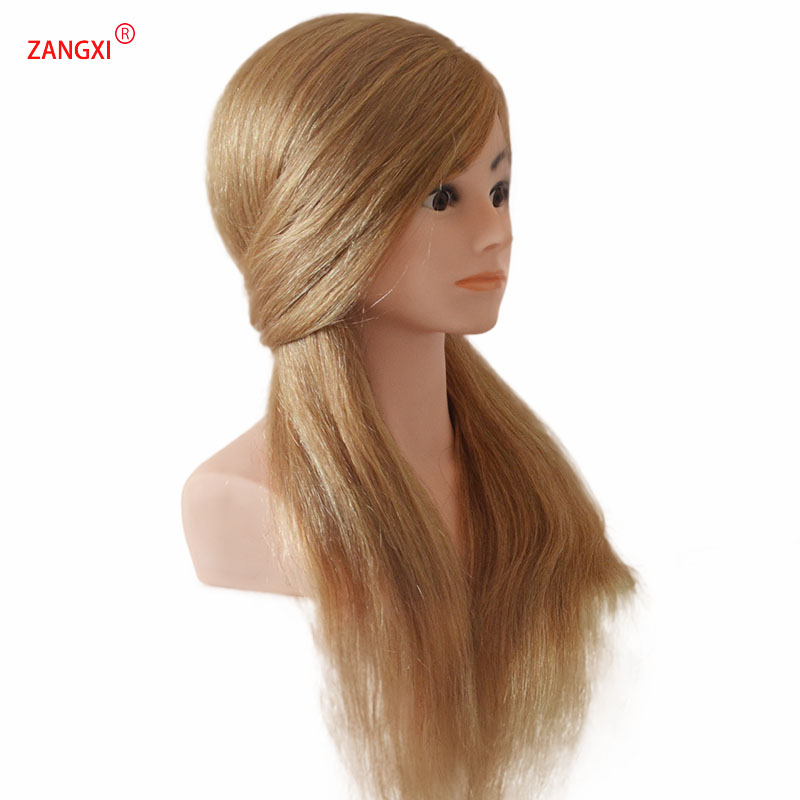 100% Human Hair Blonde Manikin Head High Grade Professional Dolls Head For Salon Female Hairdresser Mannequin Head With Shoulder image