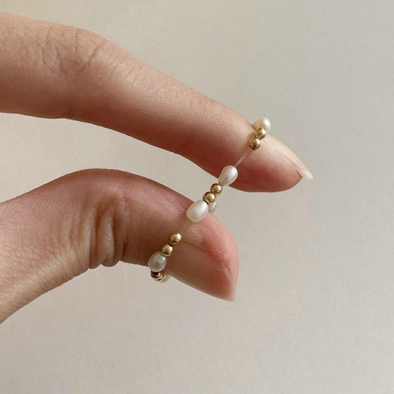 Женские корейские кольца с пресноводным жемчугом элегантные