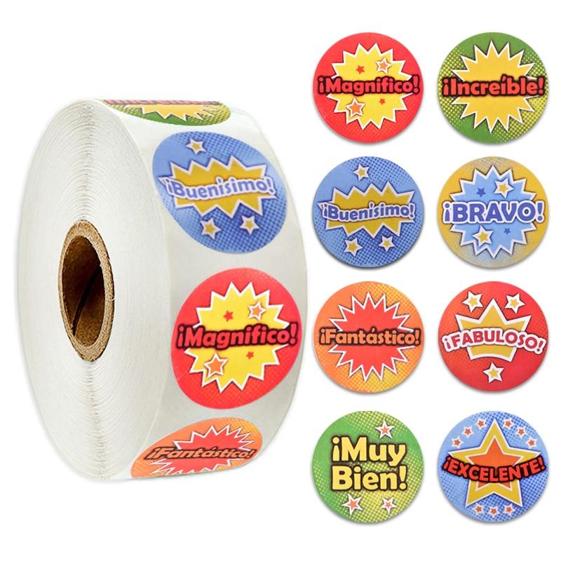 Cartoon Sticker Cute Words Reward Stickers for Teacher Encouragement Reward Children Toy Journal Scrapbook Sticker Roll