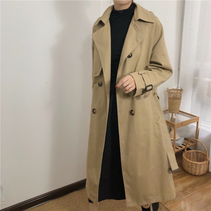 Double-breasted   Trench   Coat Solid Long Coat Women Khaki Plus Size Winter Coat Vintage Overcoat Autumn Korean Windbreaker Pocket