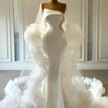 Женское атласное вечернее платье-русалка, скромное платье с запахом, без бретелек, на заказ, для выпускного вечера