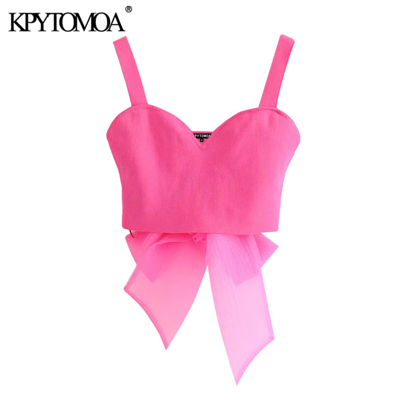KPYTOMOA Women 2020 Sexy Fashion With Organza Bow Cropped Knitted Blouses Vintage Backless V Neck Straps Female Shirts Chic Tops