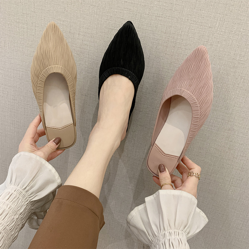 2020 Woman Slippers Women Mules Women's Fashion Pointed Toe Wedges Slides Ladies Elegant Solid Footwear Female Fashion Shoes