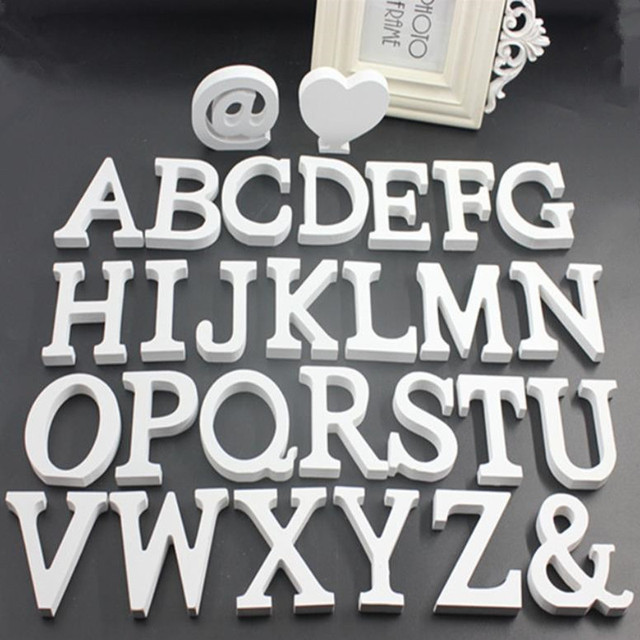 1pc 8CM White Wooden Letters English Alphabet DIY Personalised Name Design Art Craft Wedding Home Decor letters room decoration 2