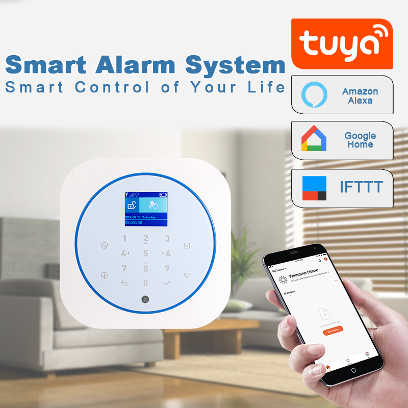 TUYA WIFI GSM Alarm System Burglar Security Wireless System Remote APP Control Multiple Language Work With Google Home/Alexa