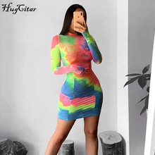 Hugcitar 2020 tie dye long sleeve ruched sexy mini dress sum