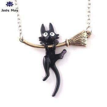 Colgante de gato negro del Anime Miyazaki Hayao Kiki, bonito collar esmaltado, regalo de joyería de moda