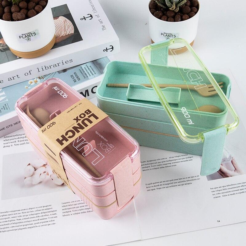 Ланч-бокс из экологически чистого материала, 3 слоя, бэнто-боксы из пшеничной соломы, для микроволновой печи, 900 мл