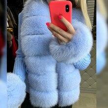 Senhoras casaco de pele de raposa de pele real curto camisola de pele natural cardigan