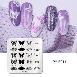 Image 4 - Pict you placas de estampagem de unha, flor retangular, aço inoxidável, estênceis de imagem, modelo de estampagem